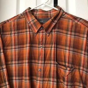 Vince XL Sienna Brown Plaid Shirt